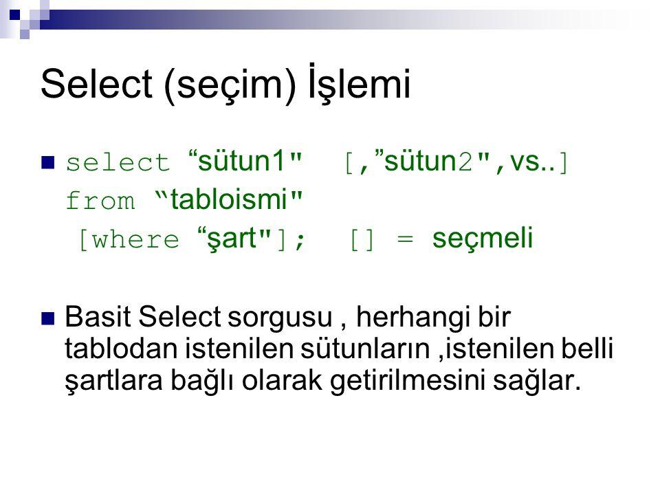 Select (seçim) İşlemi select sütun1 [, sütun2 ,vs..]